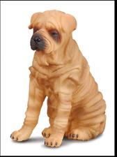 Shar Pei Dog Figurine Brown Tan & Black Collecta Toy Animal Sitting Pet New