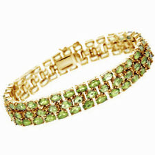 24.8 Ct Oval Cut Peridot 18K Yellow Gold Over Three Row Tennis Bracelet