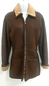 Women's Versace Istante Italy Leather Shearling Lined Coat Brown Saks Imperfect