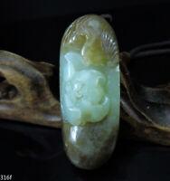 Certified Natural Hand-carved Hetian Jade Pendant Jadeite Necklace bird&flower16