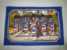 """NEW Vintage MARCH OF THE PIPES & DRUMS Towel - 20"""" x 29.5"""" - Made in Britian"""