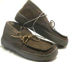 Merona Leather Indoor Outdoor Moccasin Faux Fur Boot Slippers Brown Sz-9
