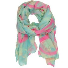 Bucasi Peace Sign and Camouflage print Scarf in Turquoise Aqua and Pink SF135