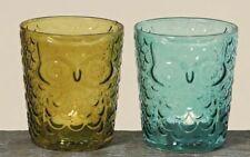 1x Windlicht Eule H11cm Glas Kerzenleuchter Teelichthalter grün oder blau Neu