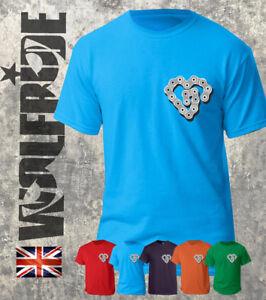 Cycling bike chain heart brest pocket print t-shirt, love biking - buy the tee
