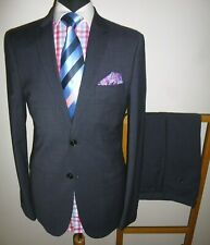 Mens Marks & Spencer Charcoal Suit 40 L Slim Fit Wool Jacket Trousers 32 x 33