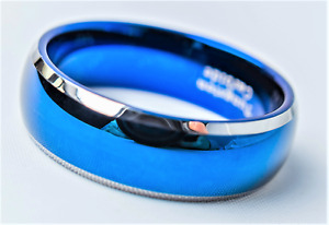 Tungsten Carbide Blue Men's Women's Ring Wedding Band Silver Edge 8 mm
