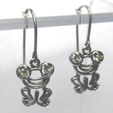 """Sparkling Eyed 1"""" Sterling Silver Frog Toad Short Dangle Drop Earrings"""