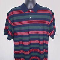 90s Vintage Men's Nautica Short Sleeve Striped Polo Shirt Size Medium  M