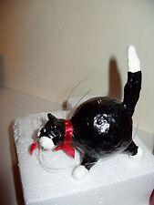 NWT Black white tuxedo kitten cat w/fish in mouth RUSS Kool Kats ornament in box