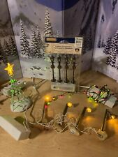 6 Piece Lot LEMAX Christmas Village Accessories Lights. Trees Adapter