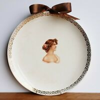 Early 1900s pretty lady decorative plate with hanger Iroquois China