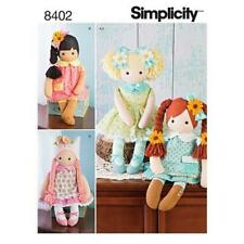 """Simplicity Sewing Pattern 8402 Elaine Heigl Stuffed 23"""" Rag Dolls With Clothes"""