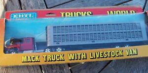 "ERTL #1442 ""TRUCKS OF THE WORLD"" MACK TRUCK WITH LIVESTOCK TRAILER, VGC"