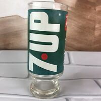 Vintage 7 UP Pedestal 12oz Drinking Glass The Uncola Wet and Wild