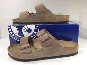BIRKENSTOCK Womens Arizona Tabacco Brown Leather Sandal Shoes Sz 10 EU41 ZB7-637