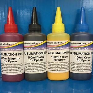 4x100ml Premium Inks Sublimation Heat Transfer Refill Ink Epson Printer Non OEM