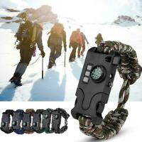 650NM Survival Tactical Bracelet Outdoor Paracord Whistle LED SOS Compass Kit♡