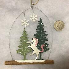 Mágico Unicornio en árboles de abeto Colgante Navidad Decoración de pared Copo de Nieve Brillo