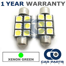 2x VERDE CANBUS TARGA INTERNO 4 Super Luminoso Led smd Lampadine 36mm 12gx2