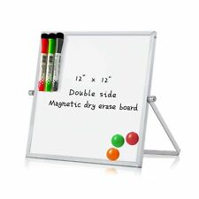 Merlerner 12 X 12 Magnetic Small Dry Erase White Board With Stand Portable