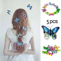 5PCS 3D Butterfly Flower Claw Clamp Hair Clips Wedding Party Bridal Hairpin-WI
