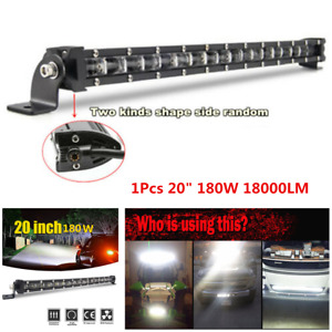 "Single Row 1Pcs 20"" 180W Slim Aluminum Off-Road 6D Spot Beam LED Work Light Bar"
