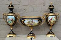 MAntel set French Cobalt porcelain sevres  romantic decor Vases centerpiece