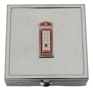 Telephone Box Square Pill Trinket Box Chrome with Mirror Gift 365