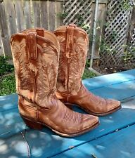 Lucchese Cowboy Boots Handmade Mens 8.5D rust brown color UT Austin Longhorn