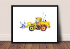 tractor  nursery picture a4 gloss Print gift UNFRAMED construction 1