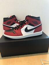 Jordan Air 1 Mid Basketball Shoe for Men, Size 10 - Black/Gym Red/White