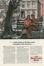 1944 Milwaukee Road Railroad Ad Serviceman & Girl Plan Out Future After War WWII