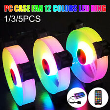 1/3/5Pack 120mm RGB LED Quiet Computer Case PC Cooling Fan with 1 Remote Control