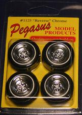 Pegasus Chrome Reverse Wheels & Tires Model Car Kit 1/25 1/24 Hot Rod Coupe