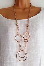 Nuevo en capas color Rosa Dorado Collar Largo Corazón enlaces múltiples
