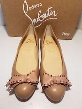 Christian Louboutin Ballalarina Spiked Bow Nude/Rose Gold Flat Shoes 38.5EU $695