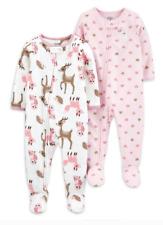 Lot of 2 Deer Owl Hearts Girls Blanket Sleeper Footed Pajama Nwt MicroFleece 5-8