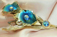 So Pretty Vintage 50's Blue AB Rhinestone Enamel Flower Brooch AS IS 134AP6