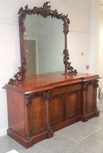 An Imposing Victorian Mahogany Four Door Mirror Back Sideboard