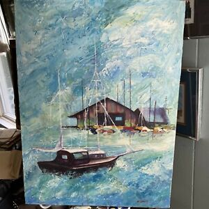 Vintage Oil Painting Nautical Boat Dock Seaside Blue Signed P Rebult 18 x 24