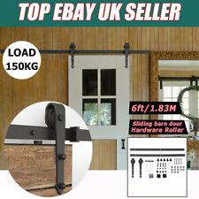UK 6ft Sliding Barn Door Hardware Closet Top Mount Hanger Roller Track Rail Kit