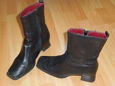Vintage Bottines cuir noir, 90 Style, bout carré Blok talon, SS 20