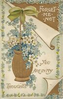 Beautiful Antique Postcard FORGET ME NOT Gold Embossed Pretty Flowers
