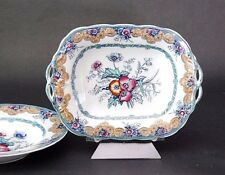 """ANTIQUE 1850's CHARLES MEIGH & SON Poppy Footed Tray Dish 12"""" Pierce Passenger"""