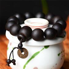 BLACK WOOD WRIST MALA Prayer Bead Bracelet Stretch Carved Buddha Jewelry GZ