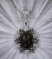 Faceted Black Onyx Gemstone Pendant Necklace in Silver Plated Setting