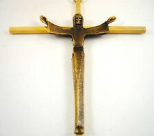 """Brass Risen Jesus Christ Wall Crucifix Cross Arms Raised Ascension to Heaven 10"""""""