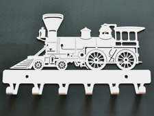 Steam Locomotive White Train Metal holder Key Hook Rack Home decor Housewarming