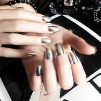 24pcs Fake Finger Nails Shiny Acrylic Artificial False Full Cover Nail Art TipZJ
